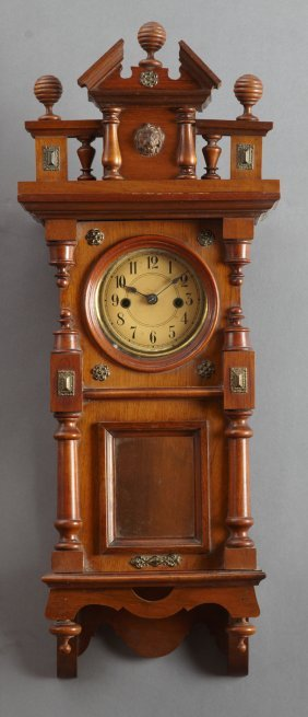 German Carved Walnut Wall Clock, 19th C., The Broken