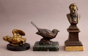 Group Of Three Cabinet Bronzes, Late 19th C., One Of A