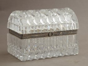 French Silver Plate Mounted Domed Cut Glass Dresser