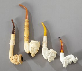 Group Of Four Carved Meerschaum Pipes, 20th C. One Of