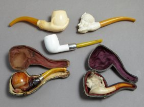 Group Of Five Carved Meerschaum Pipes, 20th C.,