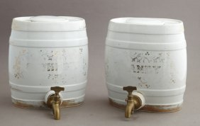 Two English Porcelain Liquor Barrels, 19th C., With