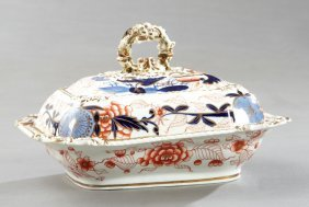 English Ironstone Covered Vegetable Dish, 19th C., With