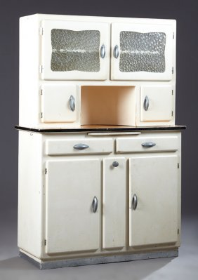 French Mid-century White Polychromed Beech Kitchen