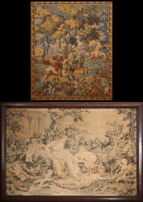 Two French Tapestries, Early 20th C., One A Hunting