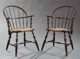 Pair Of American Windsor Style Carved Beech Bow Back