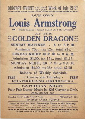 Rare Playbill For Louis Armstrong, C. 1935, At The