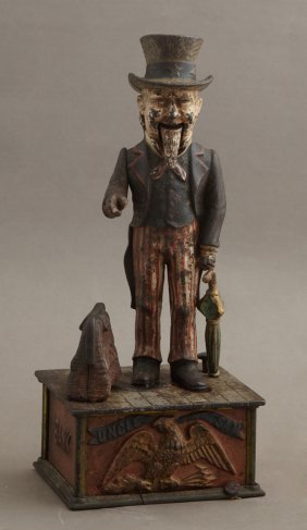 Rare Cast Iron Uncle Sam Bank, C. 1886, By The Shepard