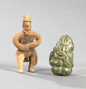 Two Pre-columbian Figures, One Terracotta Of A Standing