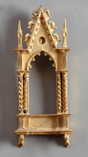 Diminutive Carved Giltwood Gothic Style Frame, 20th C.,