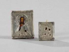 Two Russian Travel Icons, With Silver Oklads, The