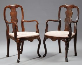 Pair Of English George Ii Carved Cherry Armchairs, 19th