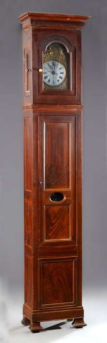 French Restoration Faux Bois Pine Tall Case Clock, 19th