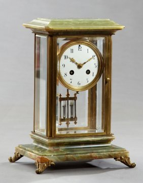 Unusual French Brass And Green Onyx Crystal Regulator