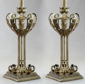 Pair Of Wrought Iron Table Lamps, 20th C., With Relief