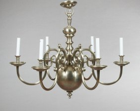 Pair Of Dutch Baroque Style Brushed Aluminum Six Light