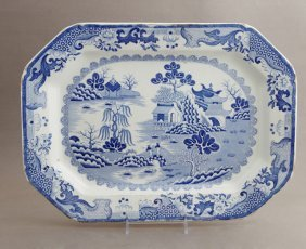 English Ironstone, Blue And White Octagonal Platter,