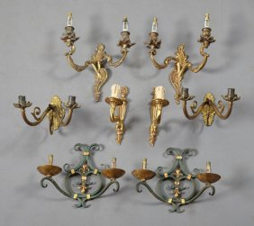 Four Pair Of French Sconces, 20th C., Consisting Of A