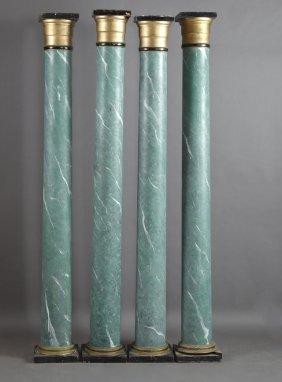 Set Of Four Polychromed Faux Marble Parcel Gilt