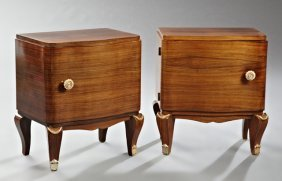 Pair Of French Art Deco Carved Mahogany Ormolu Mounted