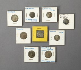 Group Of Nine Ancient Coins, Consisting Of 2 Roman