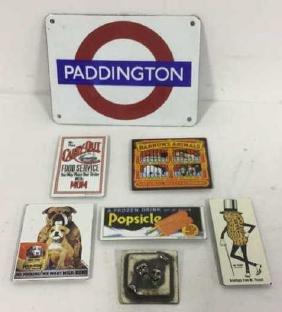 Vintage Group Lot Of Magnets, Pin, Sign Vintage Lot