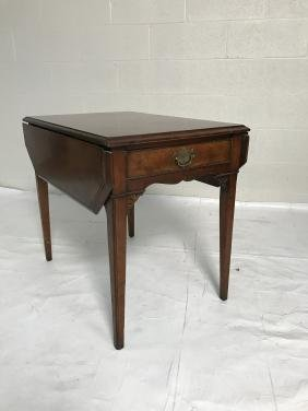 Chippendale Style Dropleaf Table With Single Drawe