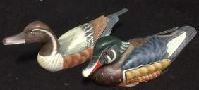 2 Carved Hand Painted Wood Ducks
