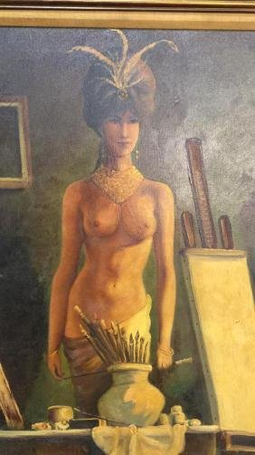Signed Portrait Of Nude  On Canvas