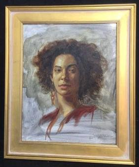 A. Wasserman Signed Oil On Canvas Female Portrait