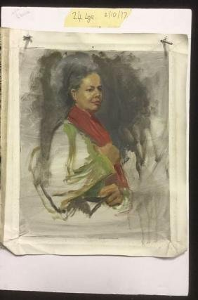 A. Wasserman Oil On Canvas Woman With Red Scarf