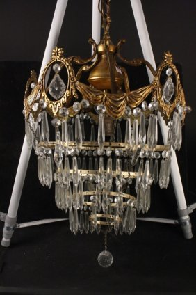 C. 1920 Spiral Crystal Drop Chandelier