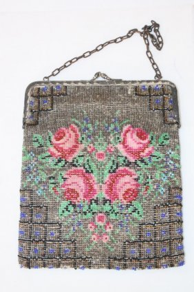 Antique Glitter Bead Rose Purse