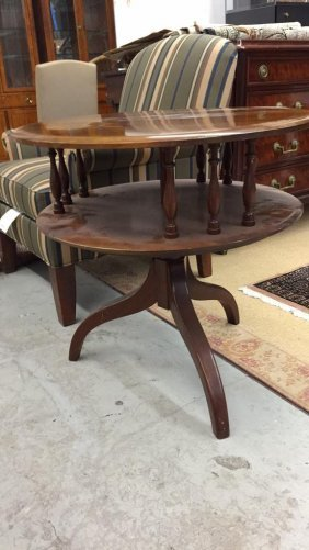 Mahogany 2 Tier Round Table Glass Top