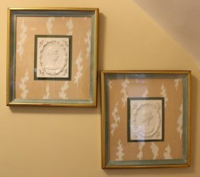 Pair Framed Porcelain Grecian Relief's