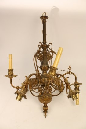 Ornate C 1940's Brass And Gilded Chandelier
