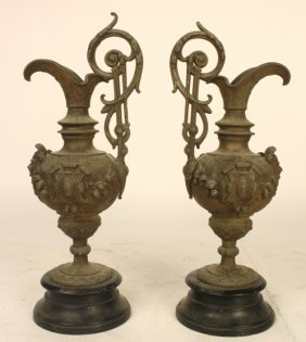 Pair Grecian Style Iron Urns W Reliefs