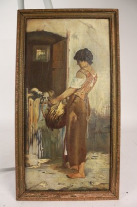Farm Woman Painting On Canvas
