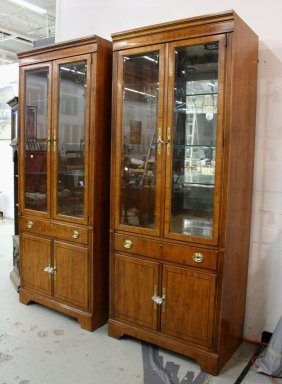 Pair Drexel Walnut Mirrored Display Cabinets