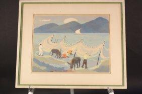 Mid Century Modern Silk Screen Print C. 1947
