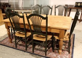 Pine Farm Table With Seven Wheat Chairs