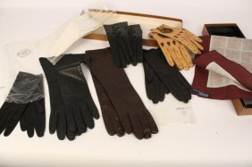 Group Lot Vintage Womens Leather Gloves And Scarf