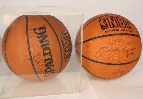 2 Larry Johnson Signed Basket Balls
