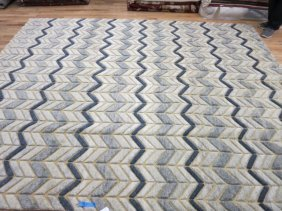 Brand New Hand Knotted Blue Grey Wool Carpet
