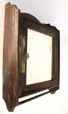 Antique Mirrored Cabinet And Towel Bar Labeled