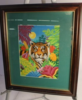 Colorful Framed Tiger Painting