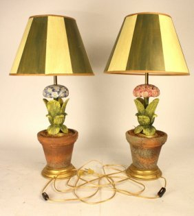 Set Of Hydrangea Lamps Hand Painted Shades