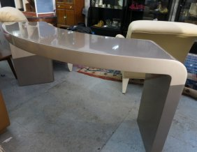 Mid Century Modern Pewter Color Console Table