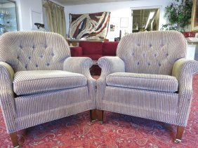 Pair Ethan Allen Upholstered Tub Chairs