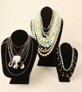Vintage Necklace Group Lot, Some Sterling